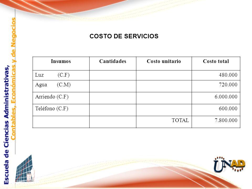 COSTO DE SERVICIOS Cargo InsumosCantidadesCosto unitarioCosto total Luz (C.F) 480.000 Agua (C.M) 720.000 Arriendo (C.F) 6.000.000 Teléfono (C.F) 600.000 TOTAL7.800.000
