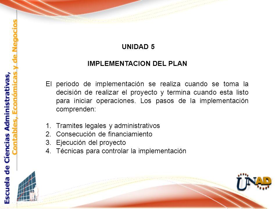 UNIDAD 5 IMPLEMENTACION DEL PLAN Cargo El periodo de implementación se realiza cuando se toma la decisión de realizar el proyecto y termina cuando esta listo para iniciar operaciones.