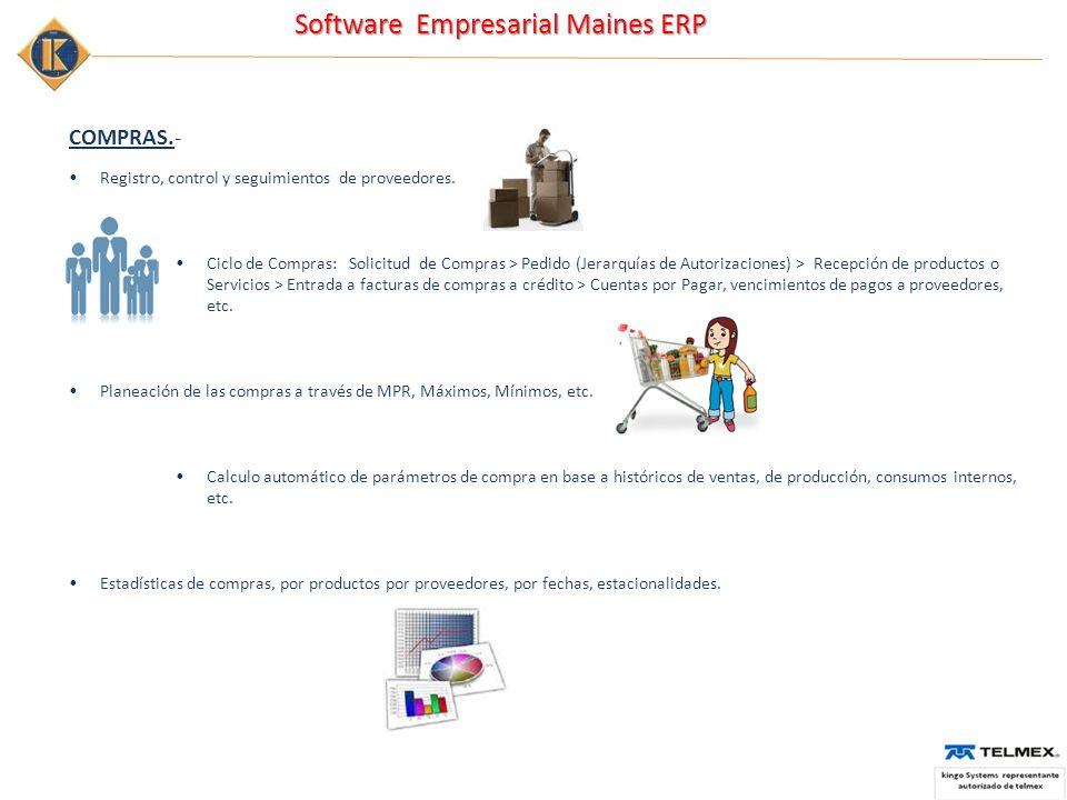 Software Empresarial Maines ERP COMPRAS.- Registro, control y seguimientos de proveedores. Ciclo de Compras: Solicitud de Compras > Pedido (Jerarquías