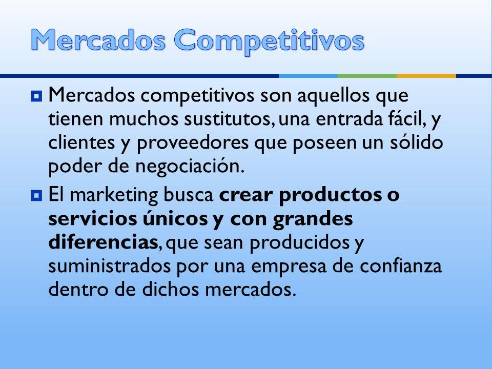 Mercados competitivos son aquellos que tienen muchos sustitutos, una entrada fácil, y clientes y proveedores que poseen un sólido poder de negociación