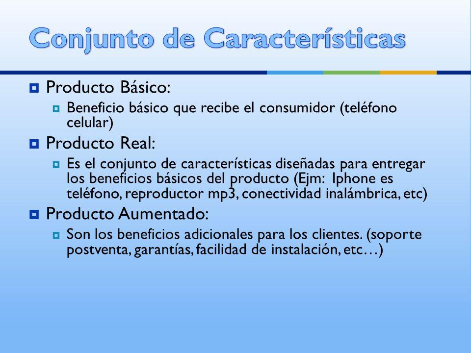 Producto Básico: Beneficio básico que recibe el consumidor (teléfono celular) Producto Real: Es el conjunto de características diseñadas para entregar