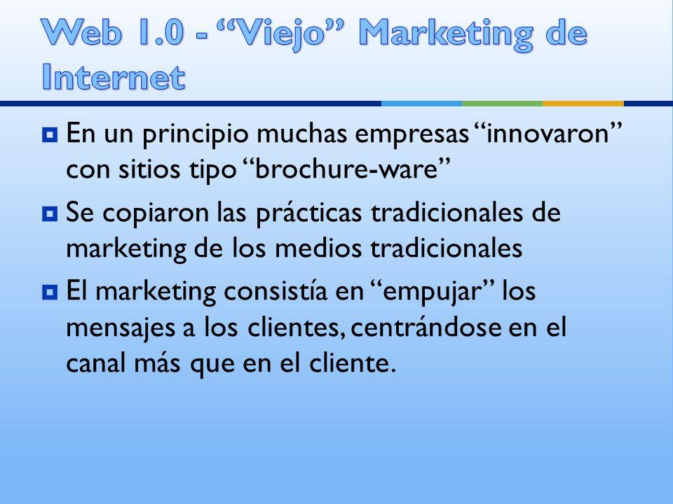 En un principio muchas empresas innovaron con sitios tipo brochure-ware Se copiaron las prácticas tradicionales de marketing de los medios tradicional