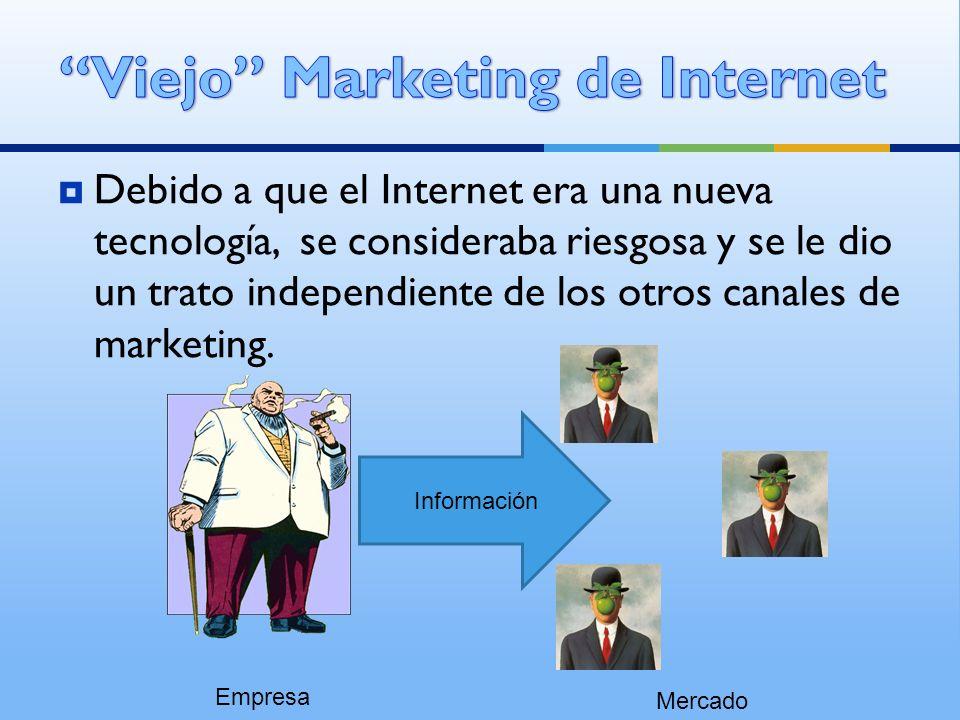 Debido a que el Internet era una nueva tecnología, se consideraba riesgosa y se le dio un trato independiente de los otros canales de marketing. Empre