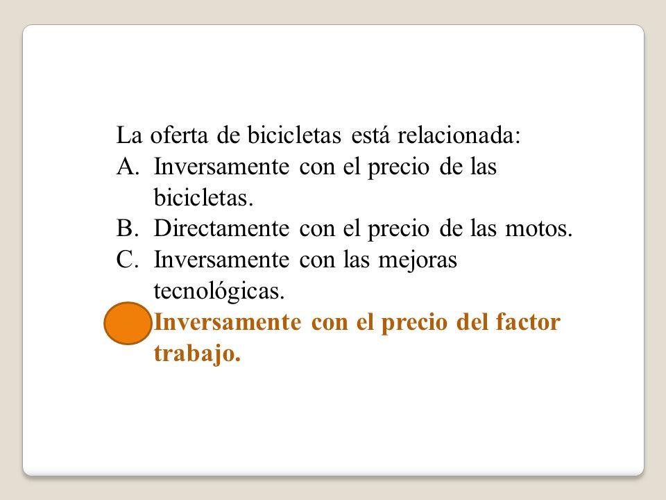 La oferta de bicicletas está relacionada: A.Inversamente con el precio de las bicicletas. B.Directamente con el precio de las motos. C.Inversamente co