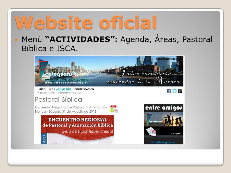 Website oficial Menú COMUNICACIÓN: Boletín, Recomendar y Contacto