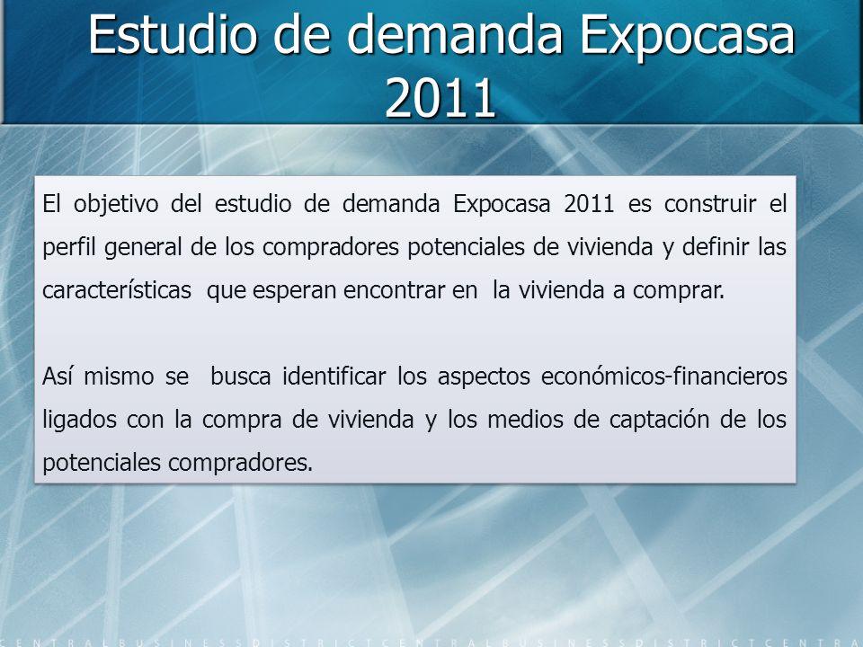 Estudio de demanda Expocasa 2011 El objetivo del estudio de demanda Expocasa 2011 es construir el perfil general de los compradores potenciales de vivienda y definir las características que esperan encontrar en la vivienda a comprar.