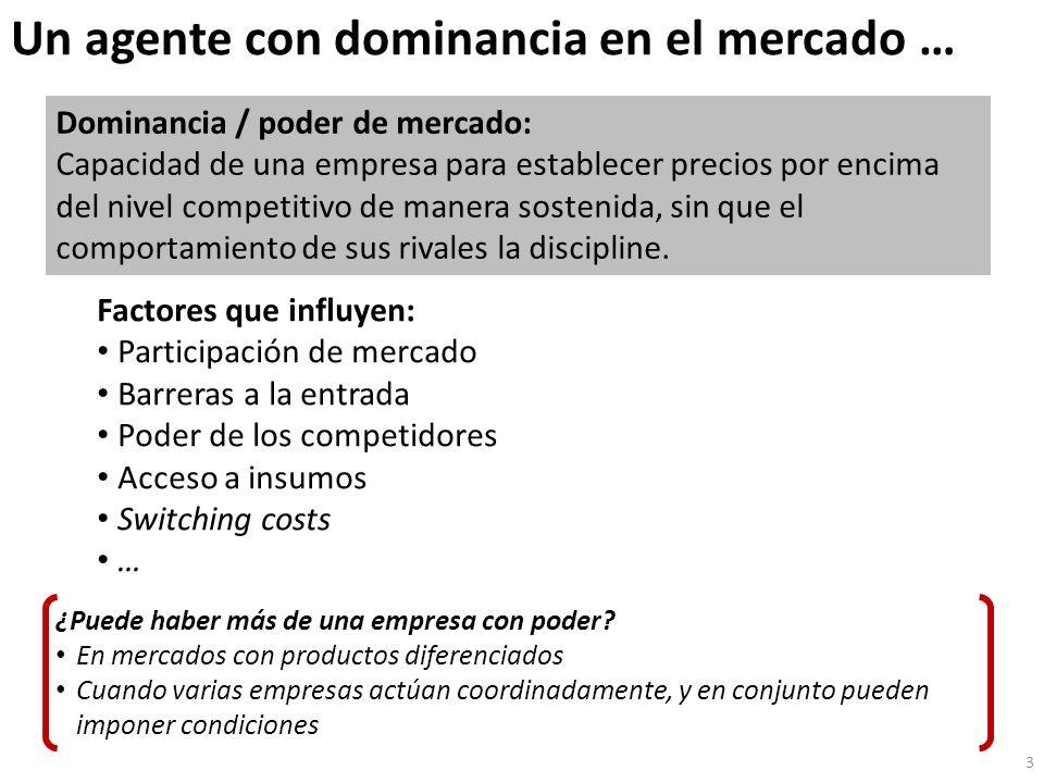 Un agente con dominancia en el mercado … 3 Dominancia / poder de mercado: Capacidad de una empresa para establecer precios por encima del nivel competitivo de manera sostenida, sin que el comportamiento de sus rivales la discipline.