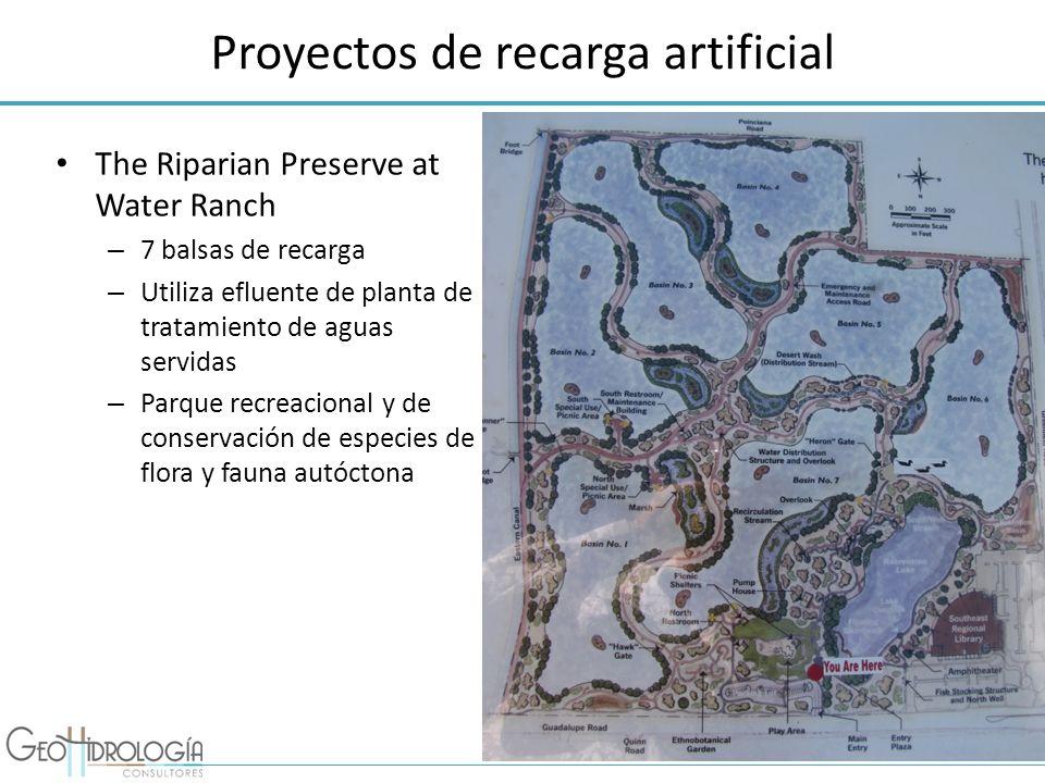 Proyectos de recarga artificial The Riparian Preserve at Water Ranch – 7 balsas de recarga – Utiliza efluente de planta de tratamiento de aguas servid