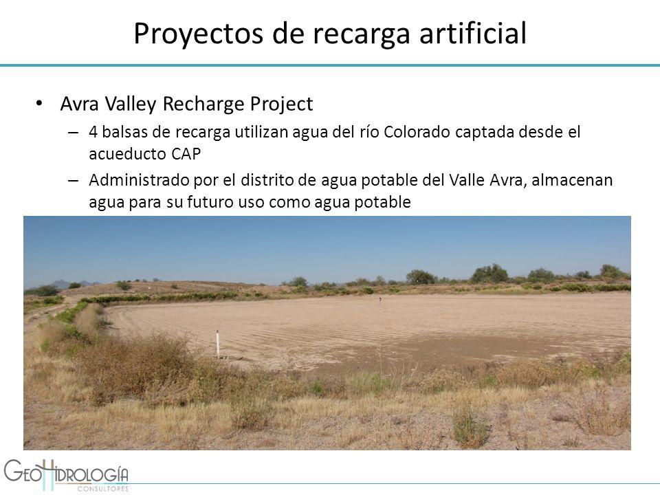 Proyectos de recarga artificial Avra Valley Recharge Project – 4 balsas de recarga utilizan agua del río Colorado captada desde el acueducto CAP – Adm