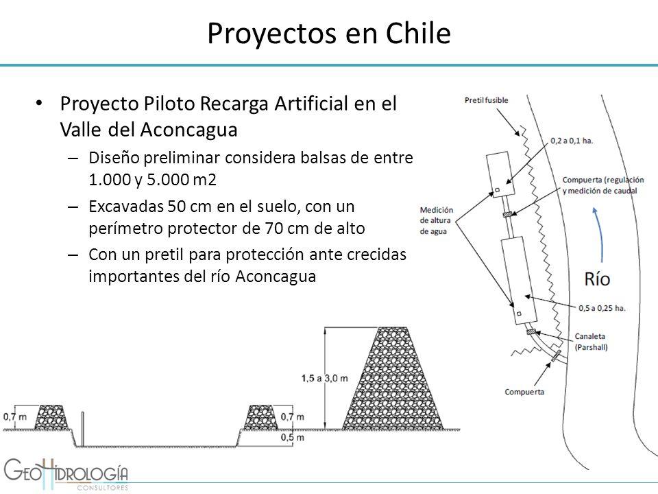 Proyectos en Chile Proyecto Piloto Recarga Artificial en el Valle del Aconcagua – Diseño preliminar considera balsas de entre 1.000 y 5.000 m2 – Excav