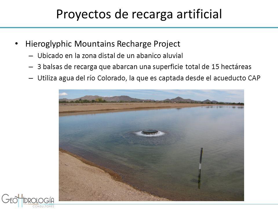 Proyectos de recarga artificial Hieroglyphic Mountains Recharge Project – Ubicado en la zona distal de un abanico aluvial – 3 balsas de recarga que ab