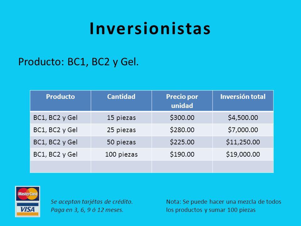 Inversionistas Producto: BC1, BC2 y Gel.