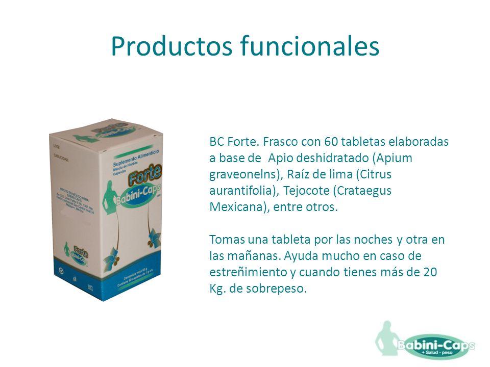 BC Forte. Frasco con 60 tabletas elaboradas a base de Apio deshidratado (Apium graveonelns), Raíz de lima (Citrus aurantifolia), Tejocote (Crataegus M