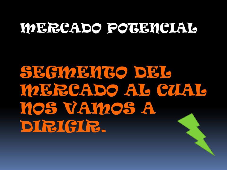 MERCADO POTENCIAL SEGMENTO DEL MERCADO AL CUAL NOS VAMOS A DIRIGIR.