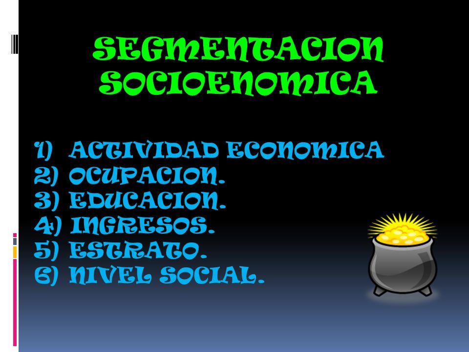 SEGMENTACION SOCIOENOMICA 1) ACTIVIDAD ECONOMICA 2) OCUPACION. 3) EDUCACION. 4) INGRESOS. 5) ESTRATO. 6) NIVEL SOCIAL.