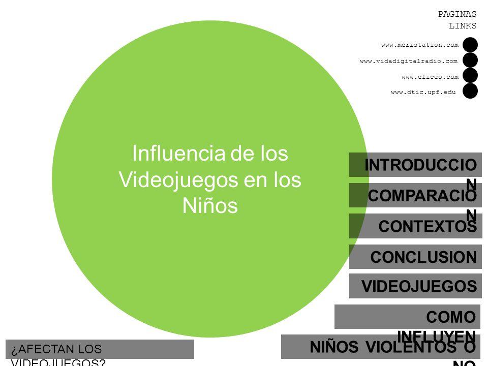 Influencia de los Videojuegos en los Niños INTRODUCCIO N NIÑOS VIOLENTOS O NO VIDEOJUEGOS COMO INFLUYEN CONTEXTOS COMPARACIO N ¿AFECTAN LOS VIDEOJUEGO