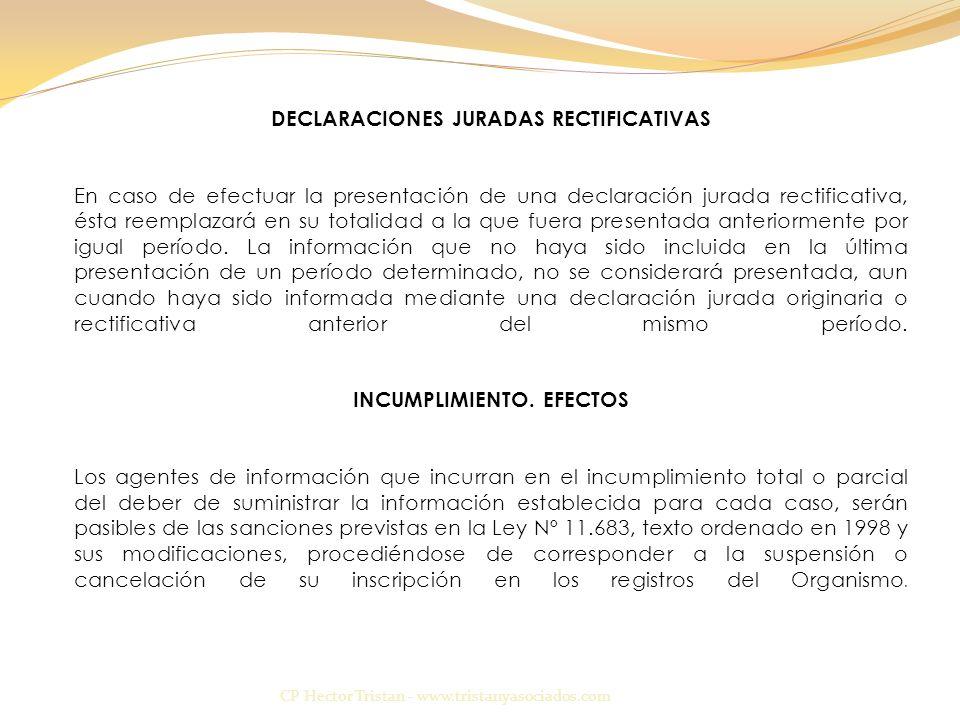 CP Hector Tristan - www.tristanyasociados.com DECLARACIONES JURADAS RECTIFICATIVAS En caso de efectuar la presentación de una declaración jurada rectificativa, ésta reemplazará en su totalidad a la que fuera presentada anteriormente por igual período.