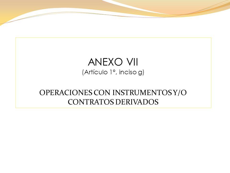 ANEXO VII (Artículo 1°, inciso g) OPERACIONES CON INSTRUMENTOS Y/O CONTRATOS DERIVADOS