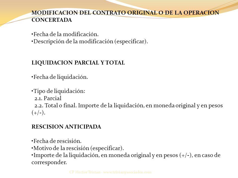 CP Hector Tristan - www.tristanyasociados.com MODIFICACION DEL CONTRATO ORIGINAL O DE LA OPERACION CONCERTADA Fecha de la modificación.