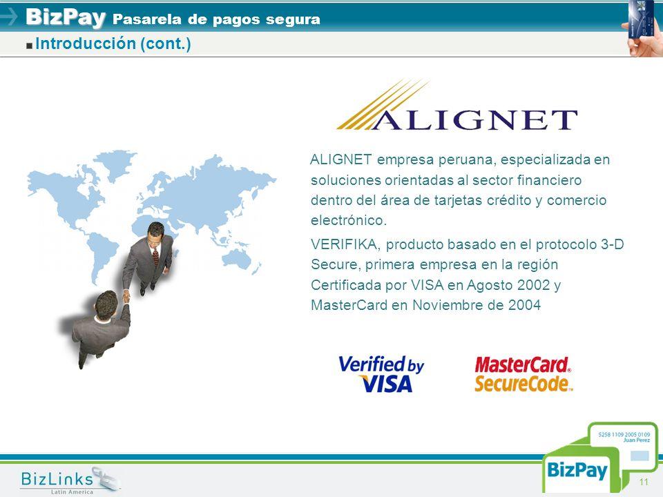 BizPay BizPay Pasarela de pagos segura 11 Introducción (cont.) ALIGNET empresa peruana, especializada en soluciones orientadas al sector financiero de