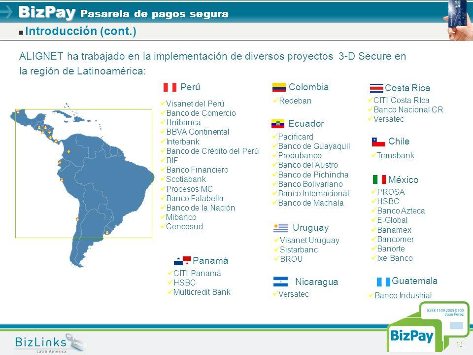 BizPay BizPay Pasarela de pagos segura 13 Introducción (cont.) ALIGNET ha trabajado en la implementación de diversos proyectos 3-D Secure en la región