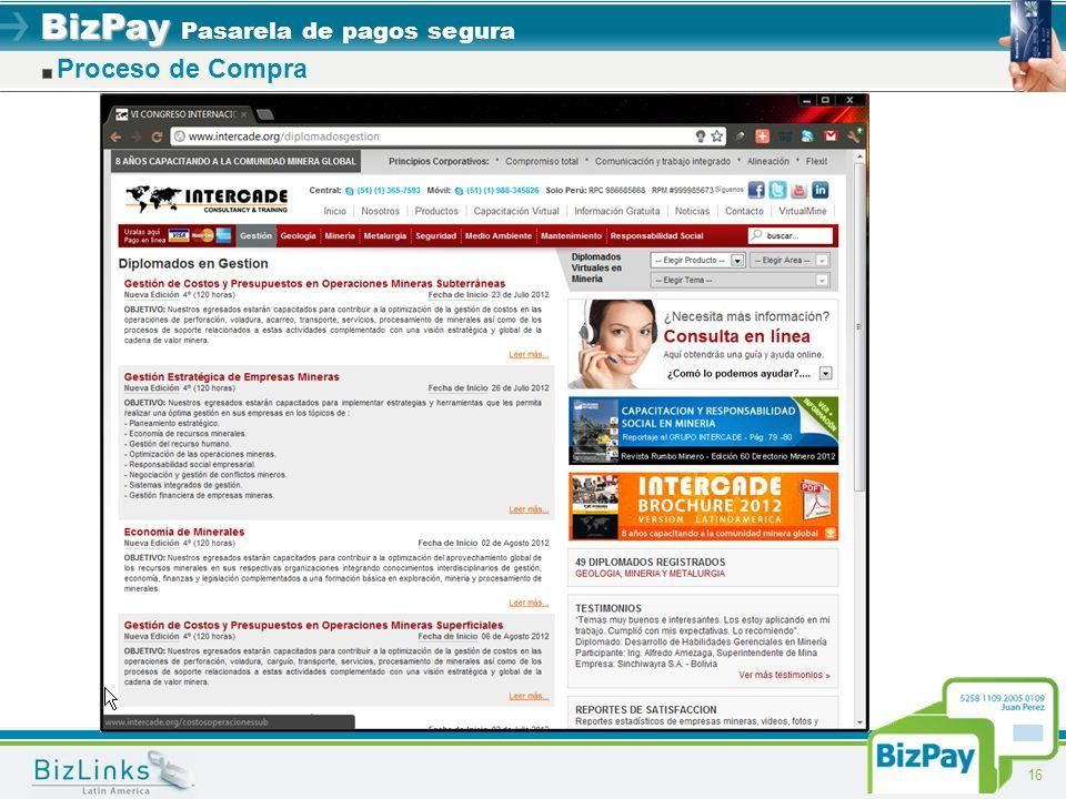 BizPay BizPay Pasarela de pagos segura 16 Proceso de Compra