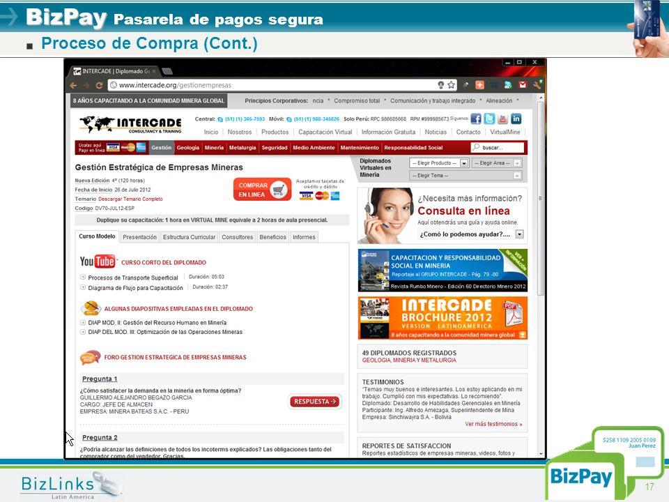 BizPay BizPay Pasarela de pagos segura 17 Proceso de Compra (Cont.)