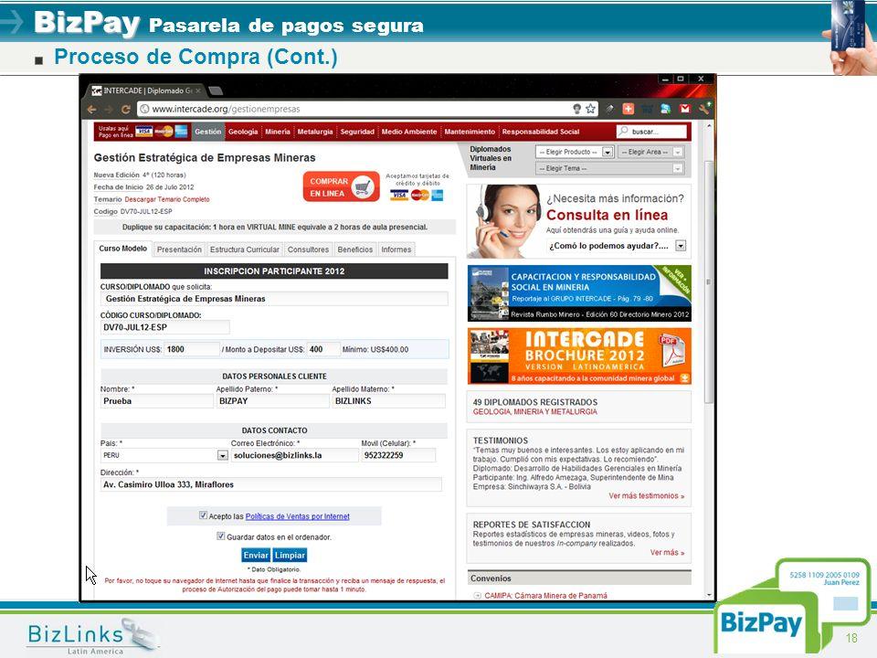 BizPay BizPay Pasarela de pagos segura 18 Proceso de Compra (Cont.)