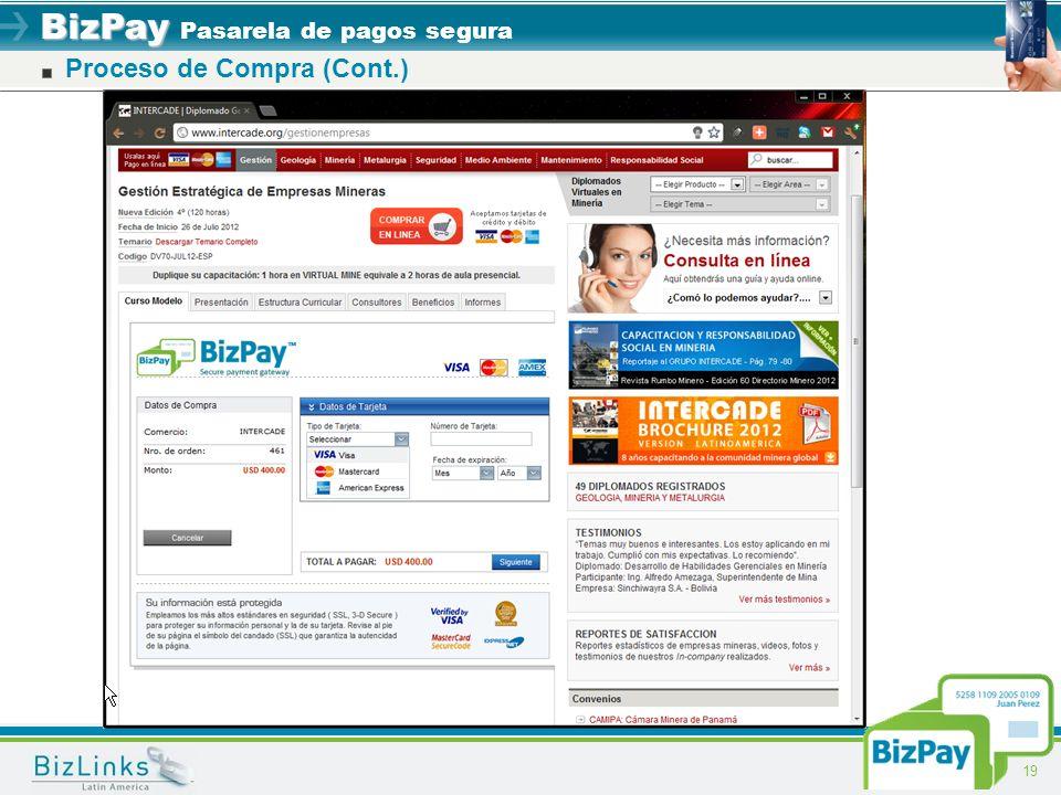 BizPay BizPay Pasarela de pagos segura 19 Proceso de Compra (Cont.)