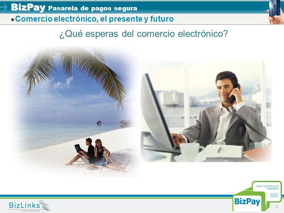 BizPay BizPay Pasarela de pagos segura 2 ¿Qué esperas del comercio electrónico? Comercio electrónico, el presente y futuro