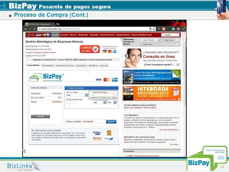BizPay BizPay Pasarela de pagos segura 20 Proceso de Compra (Cont.)