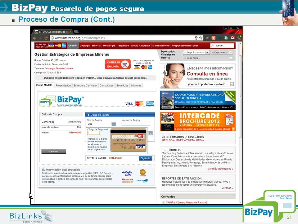 BizPay BizPay Pasarela de pagos segura 21 Proceso de Compra (Cont.)