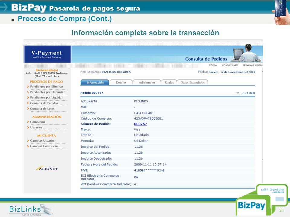 BizPay BizPay Pasarela de pagos segura 26 Proceso de Compra (Cont.) Información completa sobre la transacción