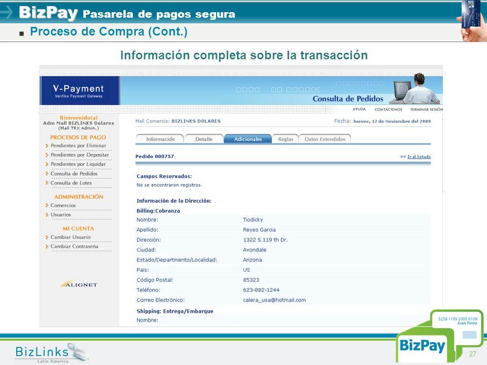 BizPay BizPay Pasarela de pagos segura 27 Información completa sobre la transacción Proceso de Compra (Cont.)