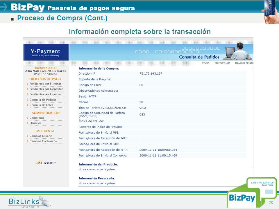BizPay BizPay Pasarela de pagos segura 28 Información completa sobre la transacción Proceso de Compra (Cont.)
