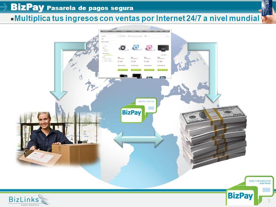 BizPay BizPay Pasarela de pagos segura Multiplica tus ingresos con ventas por Internet 24/7 a nivel mundial 3