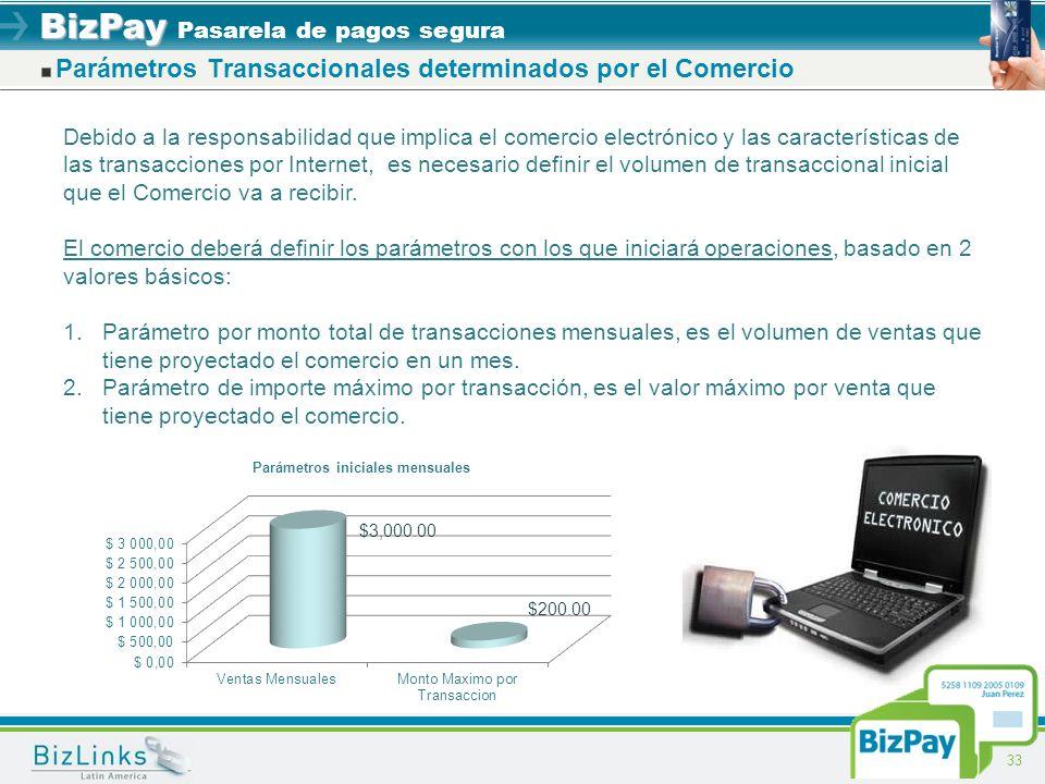 BizPay BizPay Pasarela de pagos segura 33 Parámetros Transaccionales determinados por el Comercio Debido a la responsabilidad que implica el comercio