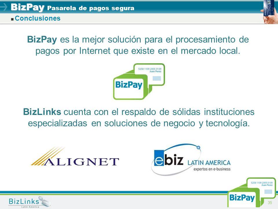 BizPay BizPay Pasarela de pagos segura 35 Conclusiones BizPay es la mejor solución para el procesamiento de pagos por Internet que existe en el mercad