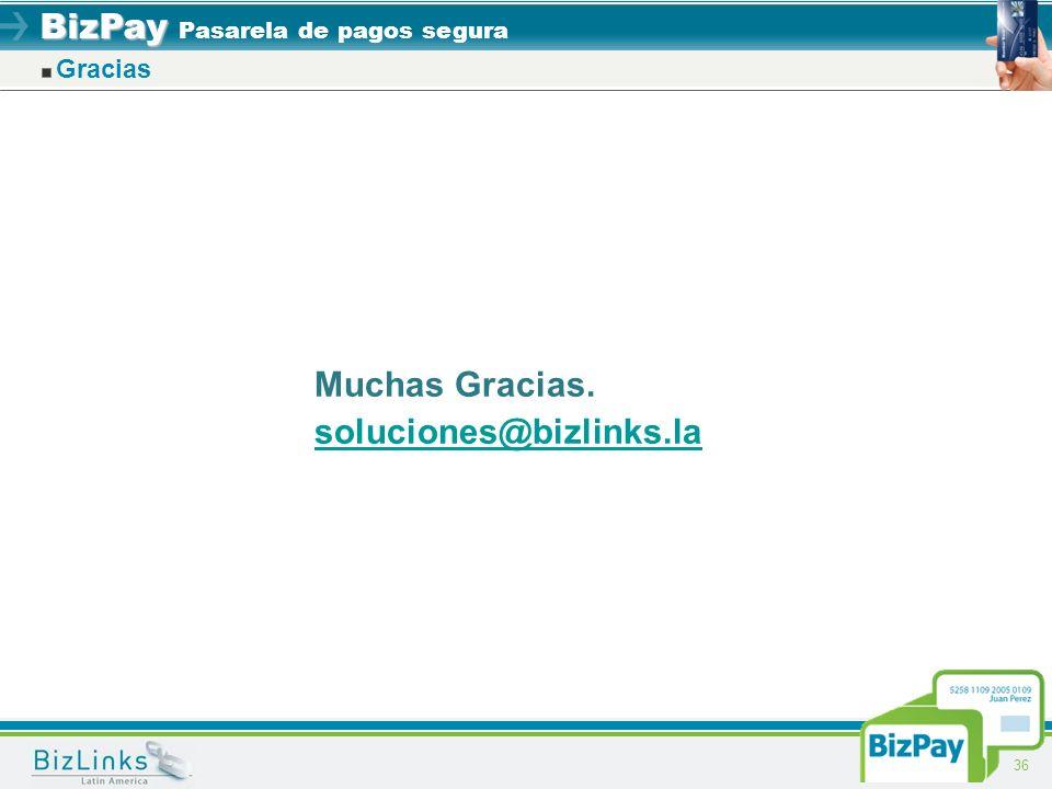 BizPay BizPay Pasarela de pagos segura 36 Gracias Muchas Gracias. soluciones@bizlinks.la