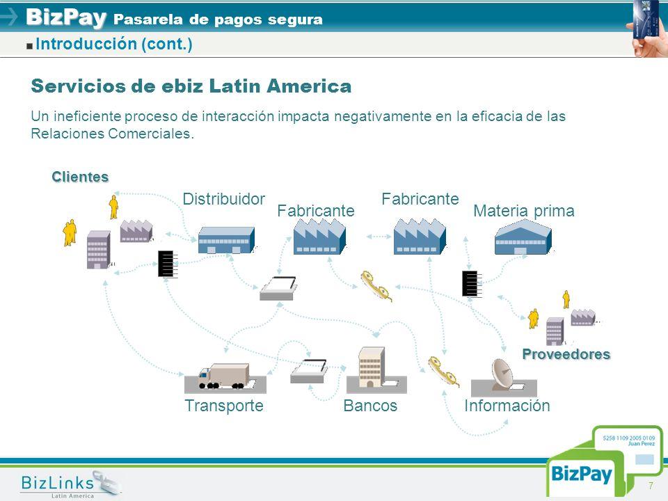 BizPay BizPay Pasarela de pagos segura 7 Introducción (cont.) Servicios de ebiz Latin America Un ineficiente proceso de interacción impacta negativame