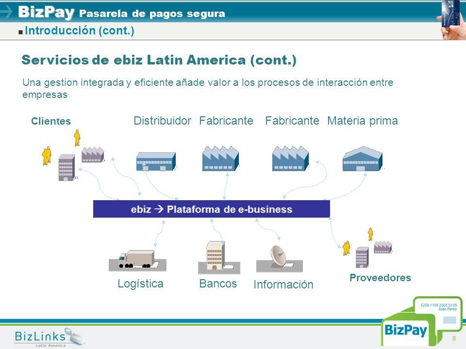 BizPay BizPay Pasarela de pagos segura 8 Introducción (cont.) Clientes DistribuidorFabricante Materia prima LogísticaBancos Información Una gestion in