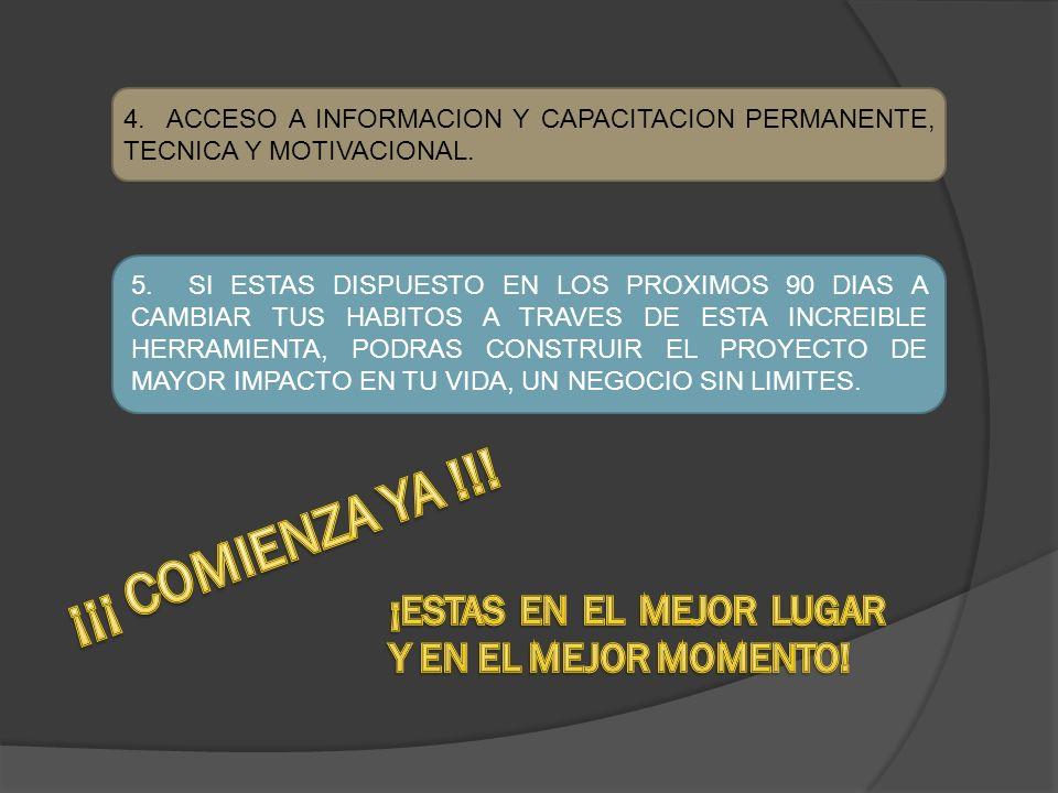 4. ACCESO A INFORMACION Y CAPACITACION PERMANENTE, TECNICA Y MOTIVACIONAL.