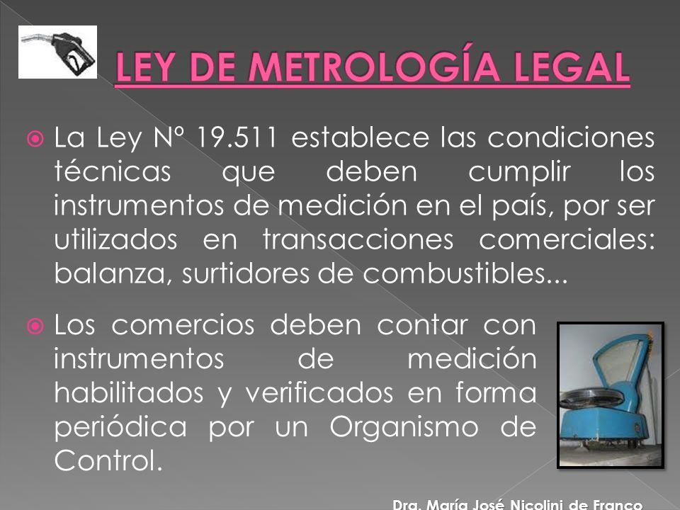 La Ley Nº 19.511 establece las condiciones técnicas que deben cumplir los instrumentos de medición en el país, por ser utilizados en transacciones comerciales: balanza, surtidores de combustibles...