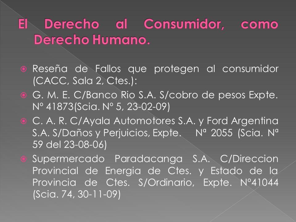 Reseña de Fallos que protegen al consumidor (CACC, Sala 2, Ctes.): G.