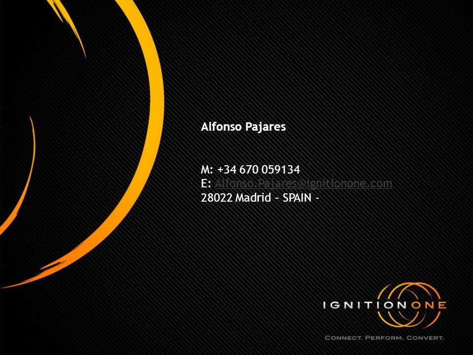 Alfonso Pajares M: +34 670 059134 E: Alfonso.Pajares@ignitionone.comAlfonso.Pajares@ignitionone.com 28022 Madrid – SPAIN -
