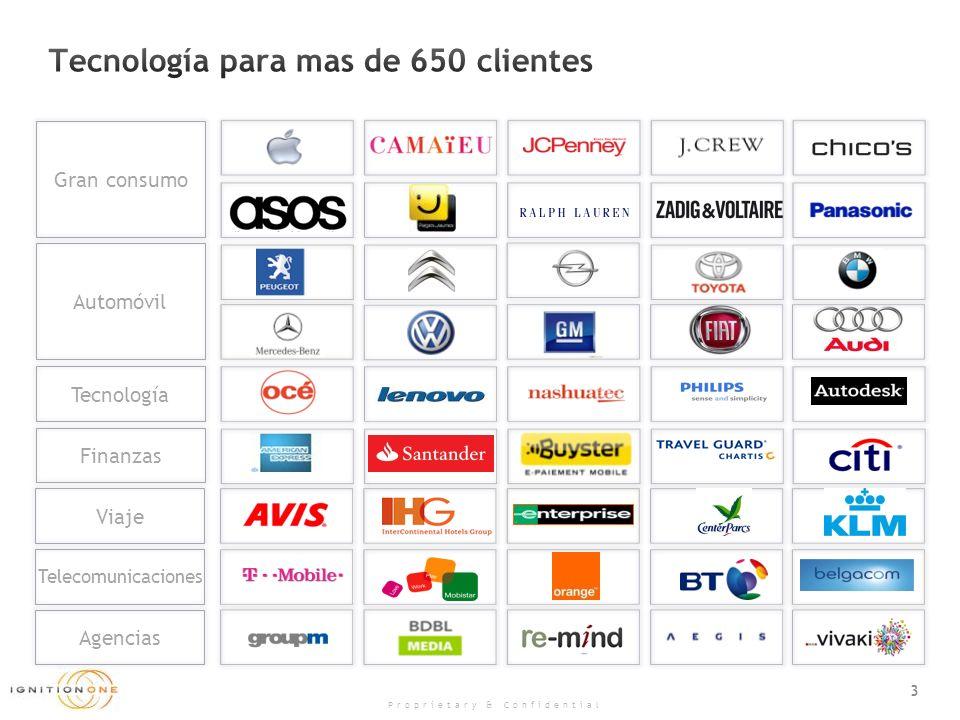 3 Proprietary & Confidential Gran consumo Finanzas Telecomunicaciones Tecnología Viaje Agencias Automóvil