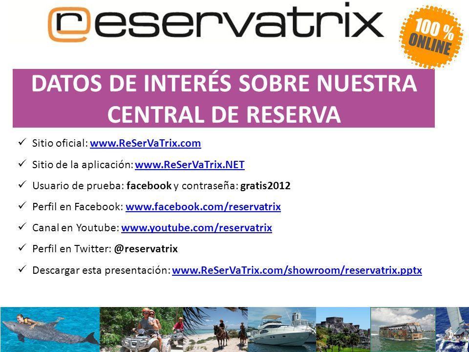 DATOS DE INTERÉS SOBRE NUESTRA CENTRAL DE RESERVA Sitio oficial: www.ReSerVaTrix.comwww.ReSerVaTrix.com Sitio de la aplicación: www.ReSerVaTrix.NETwww.ReSerVaTrix.NET Usuario de prueba: facebook y contraseña: gratis2012 Perfil en Facebook: www.facebook.com/reservatrixwww.facebook.com/reservatrix Canal en Youtube: www.youtube.com/reservatrixwww.youtube.com/reservatrix Perfil en Twitter: @reservatrix Descargar esta presentación: www.ReSerVaTrix.com/showroom/reservatrix.pptxwww.ReSerVaTrix.com/showroom/reservatrix.pptx