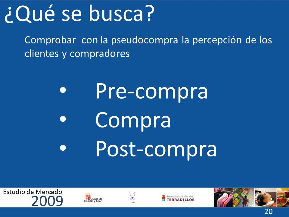 ¿Qué se busca? Pre-compra Compra Post-compra Comprobar con la pseudocompra la percepción de los clientes y compradores 2009 Estudio de Mercado 20