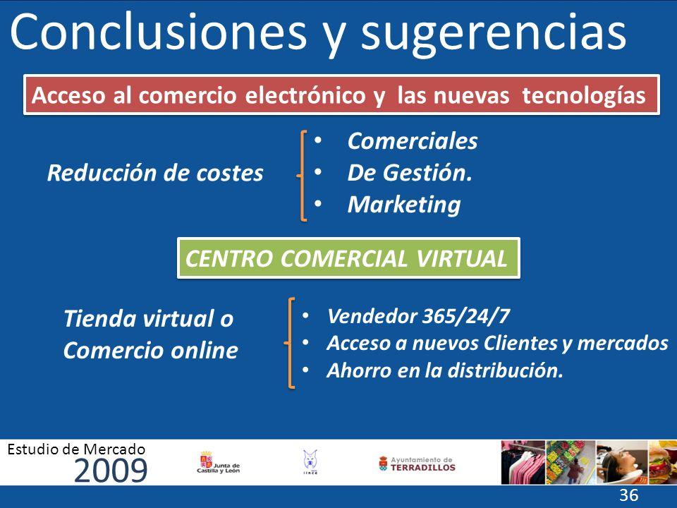 Conclusiones y sugerencias Acceso al comercio electrónico y las nuevas tecnologías CENTRO COMERCIAL VIRTUAL Reducción de costes Comerciales De Gestión