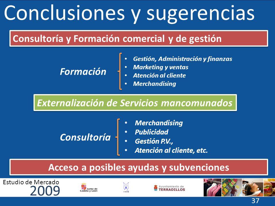 Conclusiones y sugerencias Formación Gestión, Administración y finanzas Marketing y ventas Atención al cliente Merchandising Externalización de Servic